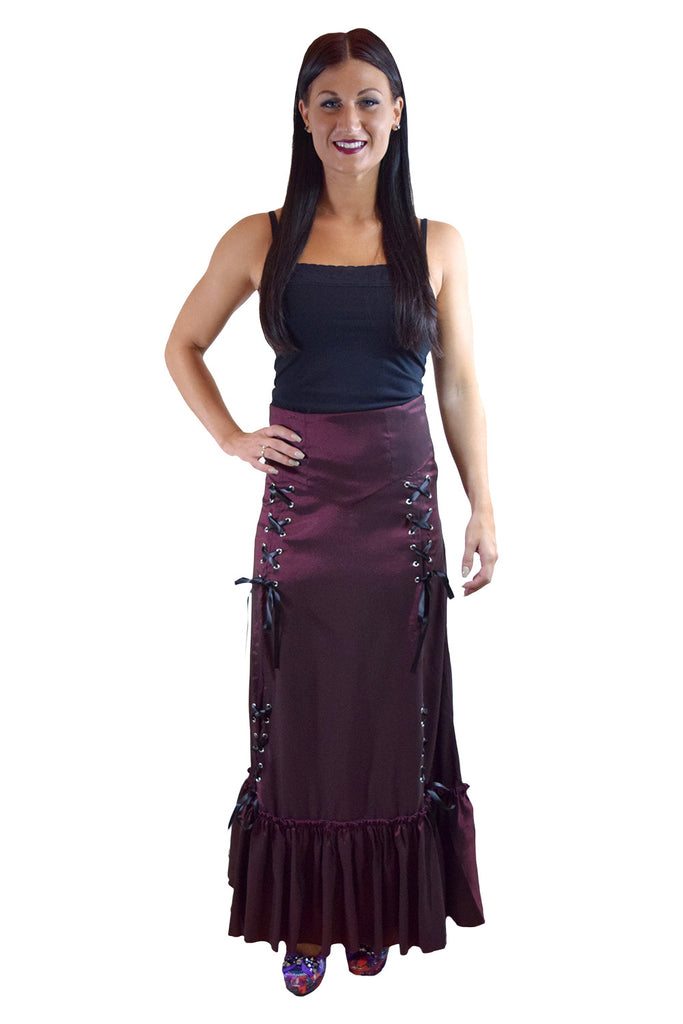 Gothic Victorian Steampunk Burgundy Long Maxi 3-way Corset Gown Skirt - Renaissance Skirt BURGUNDY - Skelapparel