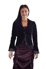 Plus Womens Gothic Victorian Steampunk Black Velvet Corset and Lace Jacket - Skelapparel