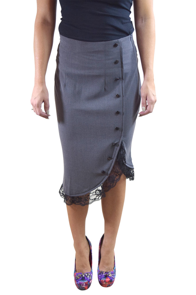 60's Vintage Lace Trim office wiggle Tulip Solid Pencil Skirt - Gray - Skelapparel