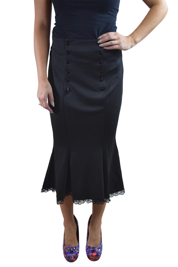 50's High Waisted vixen Sailor Lace Trim Wiggle stretchy black pencil skirt - Skelapparel