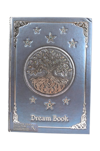 Wiccan Tree of Life Dream Book Embossed Journal Notebook Blue - Skelapparel