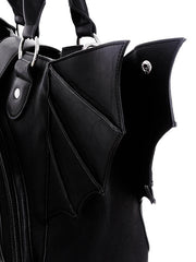 Bat night and Moon Bat wings PU leather Black Gothic Handbag - Skelapparel