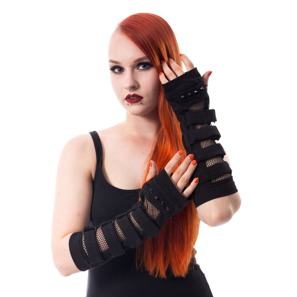 Poizen Industries Goth Punk Black Straps Armwarmers Sleeves - Fatal