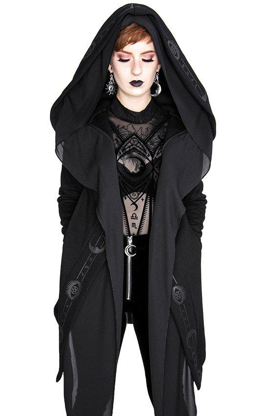Restyel Fortune Teller Black Hoodie with Veil - Skelapparel