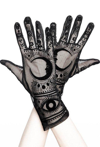 Restyle Moon Magick Fortune Teller Wicca Gothic Black Mesh Gloves - Skelapparel