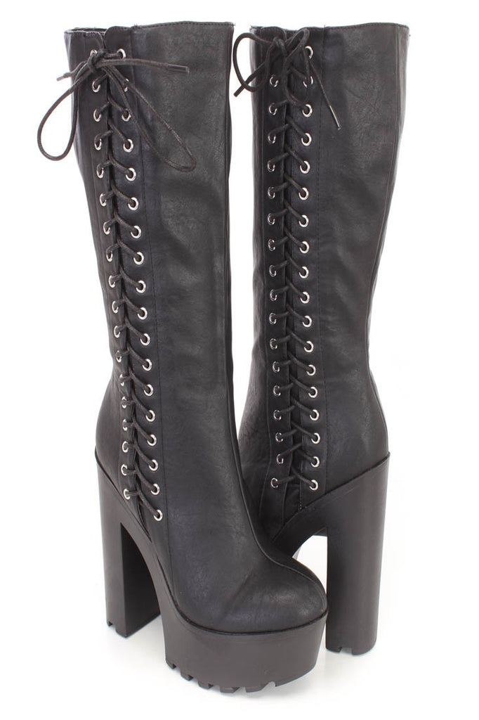 Gothic Punk Rock Side Lace-up Lug Sole Chunky High Heel Platform Black Knee High Boots - Skelapparel