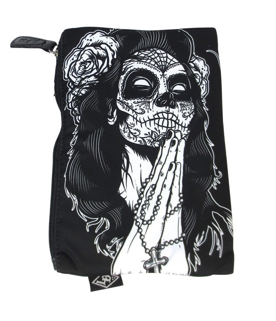 Praying sugar skull gypsy Tattoo Art Gypsy sugar skull and Rose Purse Cosmetic Bag - Skelapparel