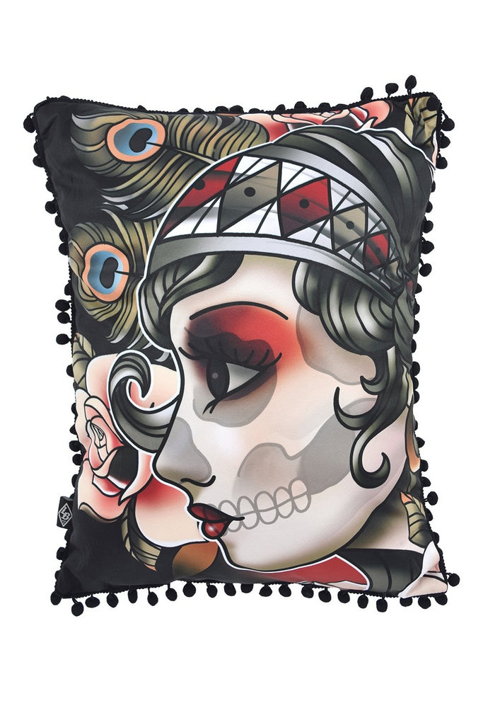 Liquorbrand Gypsy Rose Sugar SKull Tattoo Couch Throw Pillow - Skelapparel