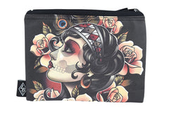 Liquorbrand Gypsy Rose Sugar Skull Tattoo Art wristlet pouch bag and Coin Purse