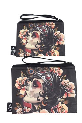 Liquorbrand Gypsy Rose Sugar Skull Tattoo Art wristlet pouch bag and Coin Purse - Skelapparel