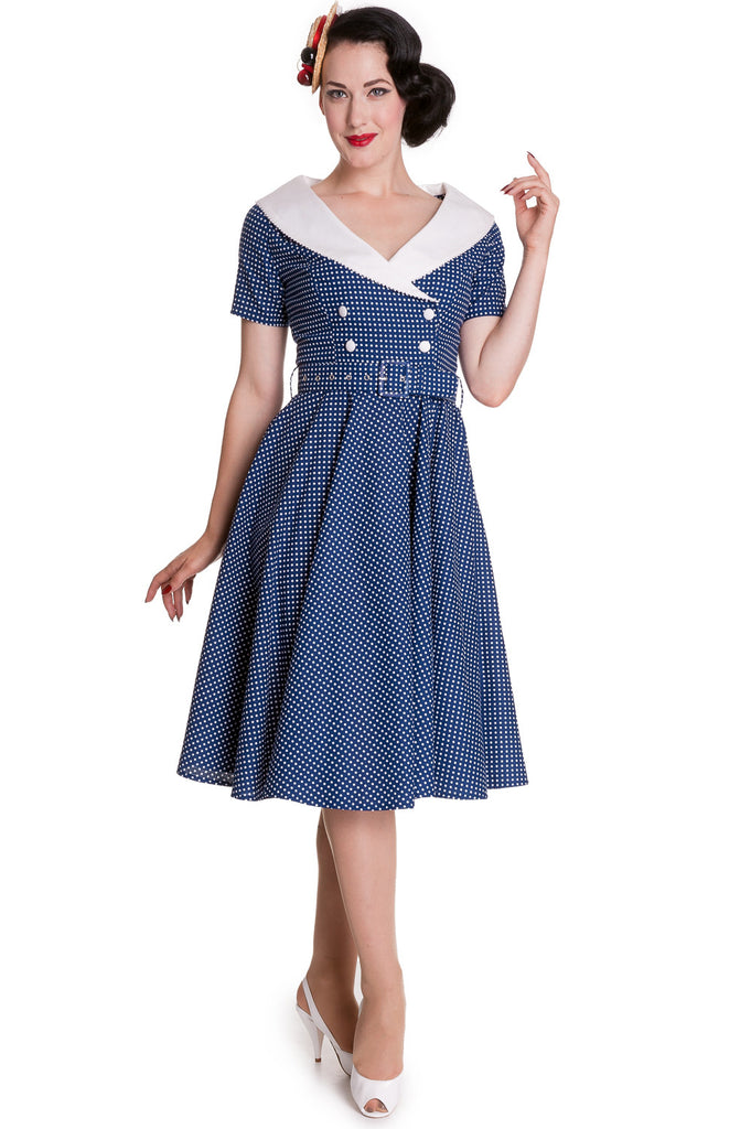 Hell Bunny 60's Vintage Navy Blue Polka Dot Hepburn Wide V Neck Dress - Skelapparel
