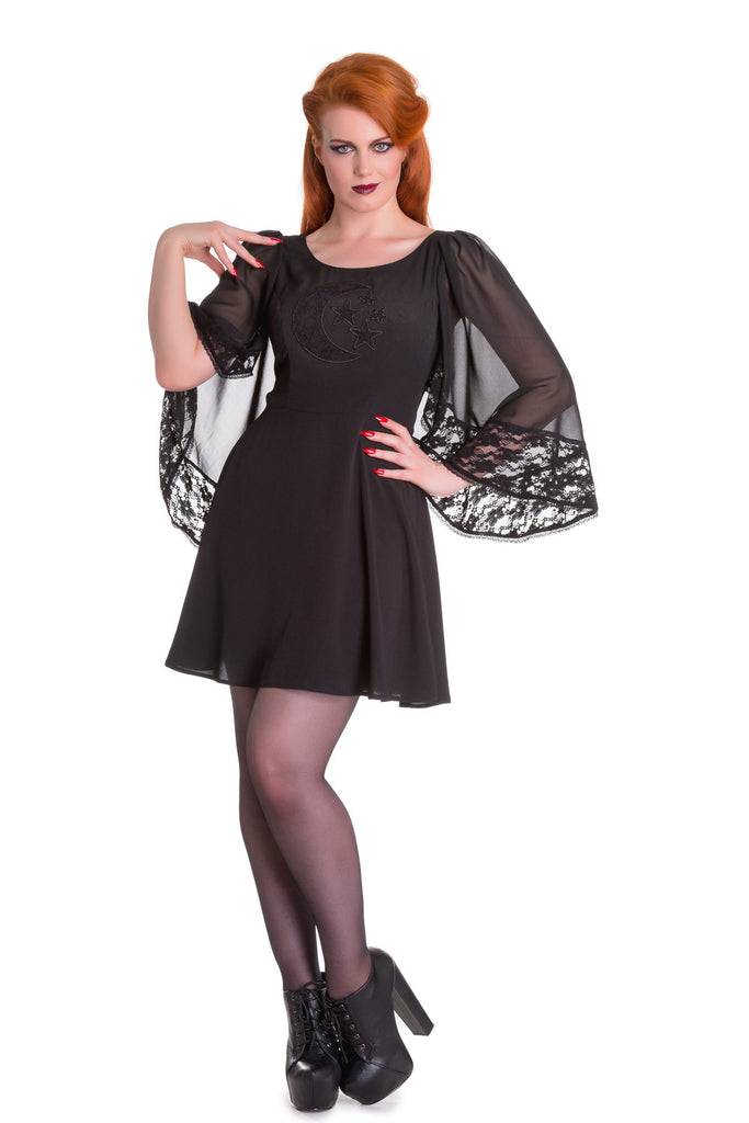 Spin Doctor Bewitched Black Moon & Stars Sheer Lace Wing Sleeves Black Dress - Skelapparel