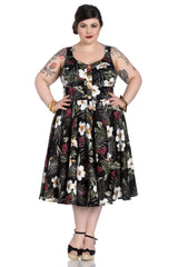 Hell Bunny Tahiti Tropical Floral 50s Vintage Rockabilly Flare Swing Party Dress - Skelapparel