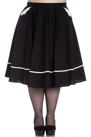 50's Spooky Bat Black Swing Skirt - Skelapparel