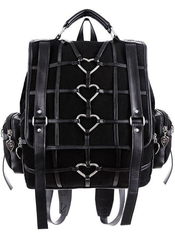 Heavy Heart Black Denim Bondage Harness with Heart Shaped keyrings Backpack - Skelapparel