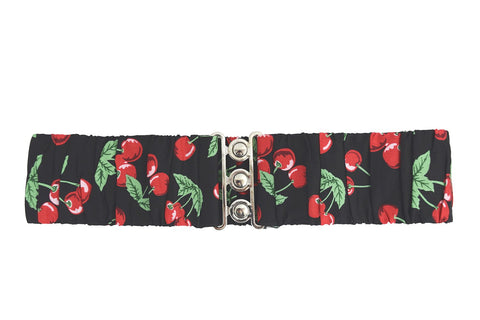 Hell Bunny Pinup Rockabilly Cherry Pop Silver Retro Clasp Elastic Waist Belt