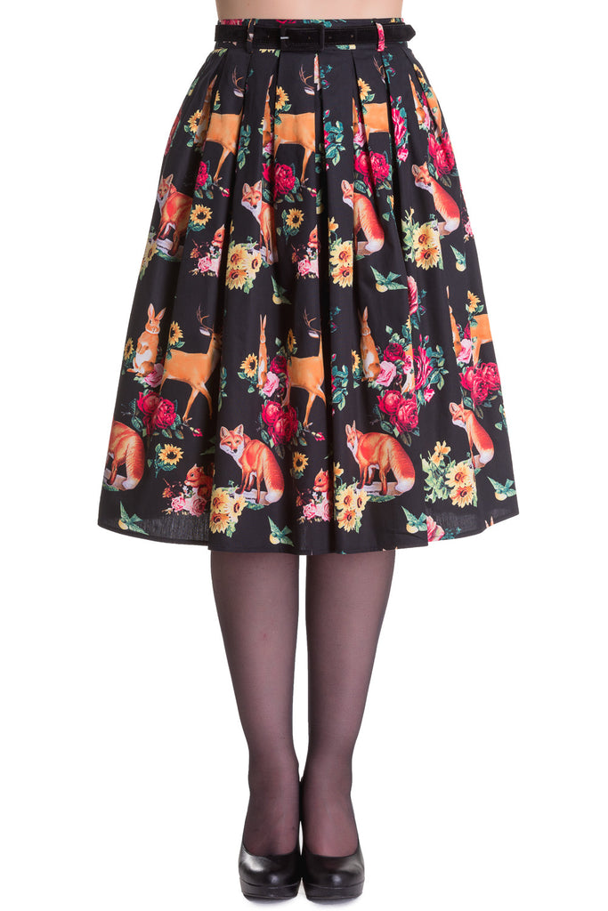 Wonderland Forest Kawaii Lolita Forest Animals & Flower Pleated Skirt - Skelapparel