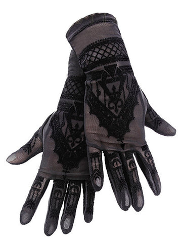 HENNA GLOVES - Gothic Mesh Gloves with Mehndi Patterning - Skelapparel - 1