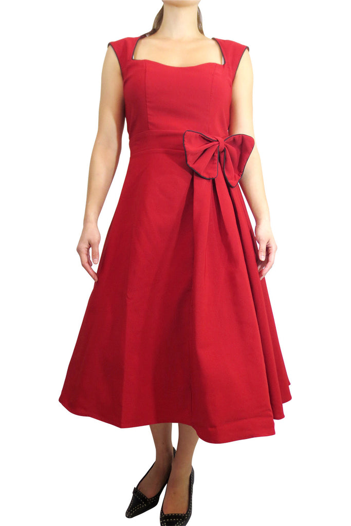 Rockabilly Pinup Vintage Style 60's Red Belted Flare Party Dress with Bow - Skelapparel