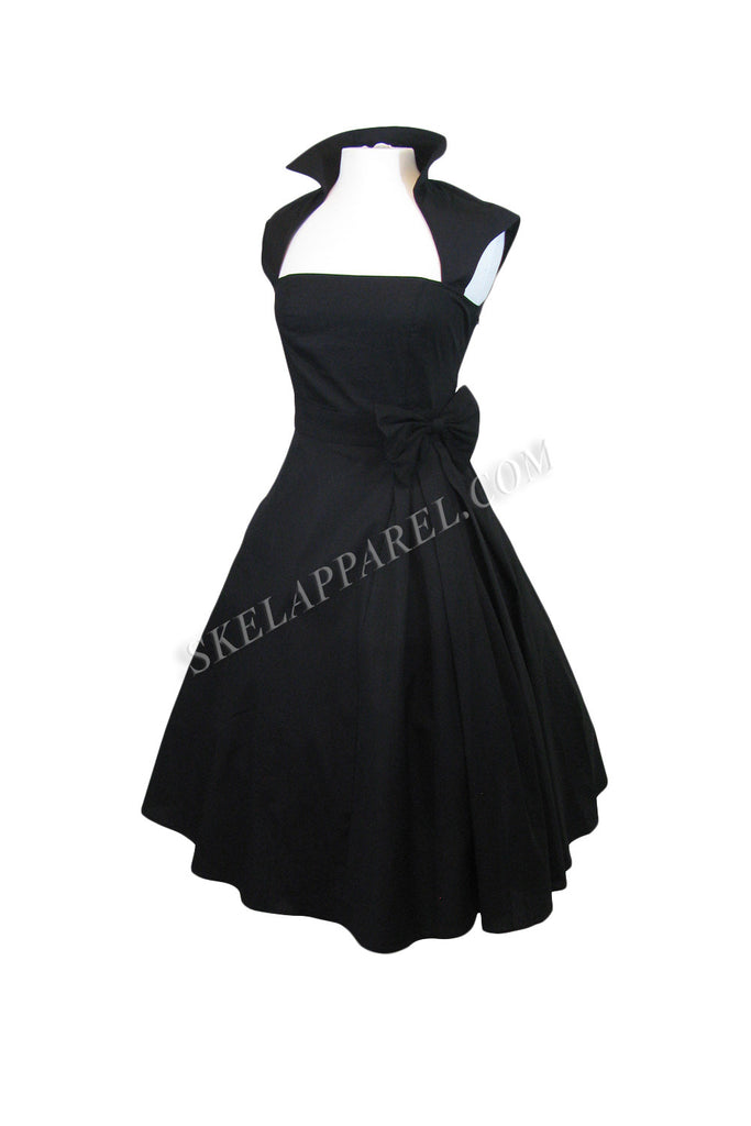 50's Vintage Style Black Bow Belted Swing Skirt Party Dress - Skelapparel