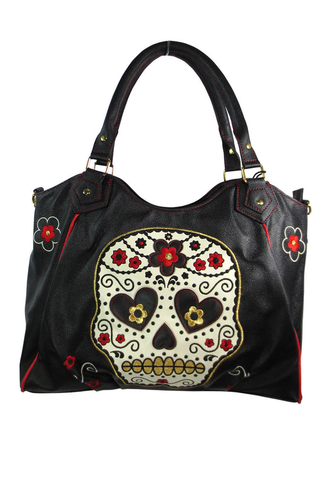 Banned Rockabilly Day of the Dead Flower Sugar Skull Embroidered Shoulder Bag - Skelapparel - 1