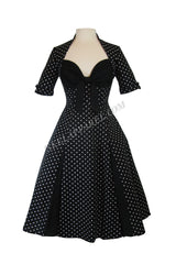 60's rockabilly pin-up Polka Dot Black Party Swing Dress - Black / Black - Skelapparel