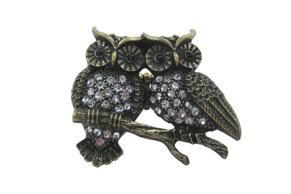 Vintage Inspired Owl Couple - Two Owls on Branch Fashion Ring - Skelapparel