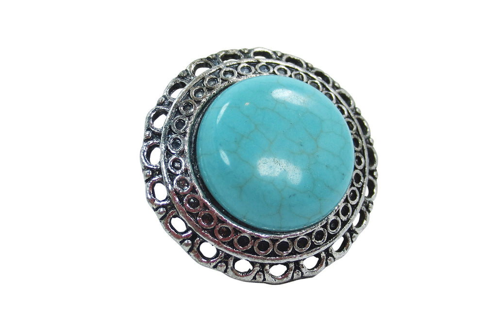 Vintage Design Aztec Western Chunky Round Turquoise Fashion Ring - Skelapparel