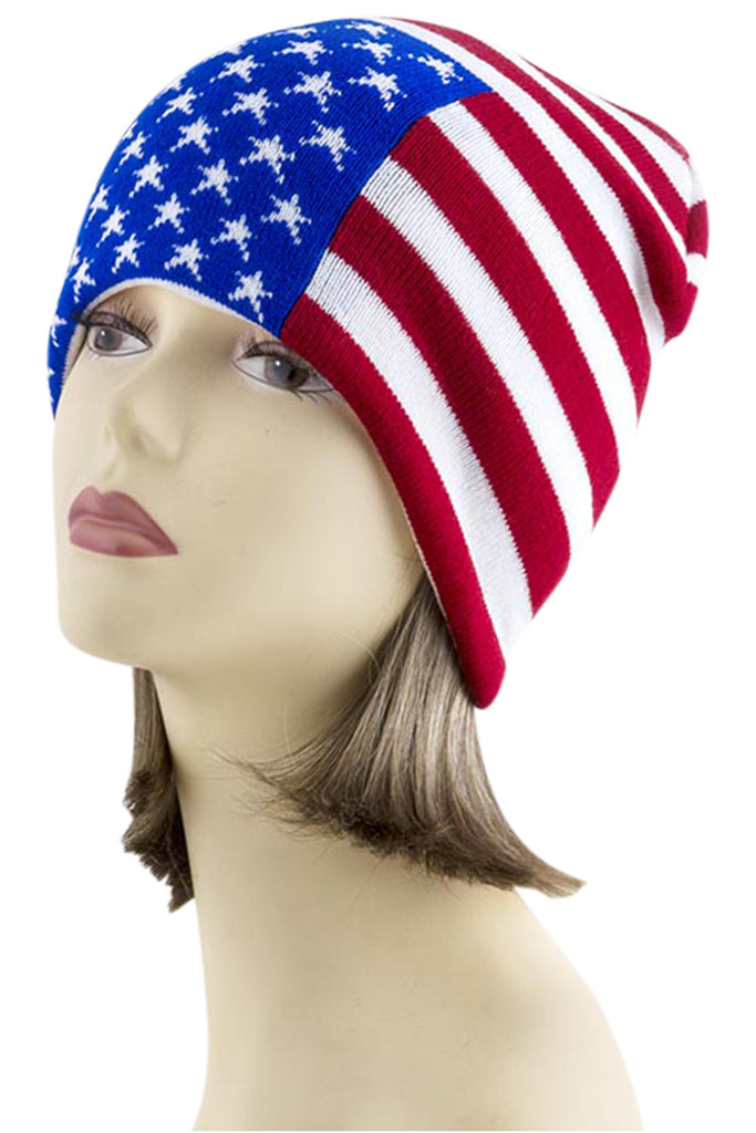American Flag Go USA Patriotic Proud to Be American Knit Beanie Hat - Skelapparel