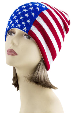 American Flag Go USA Patriotic Proud to Be American Knit Beanie Hat - Skelapparel - 1