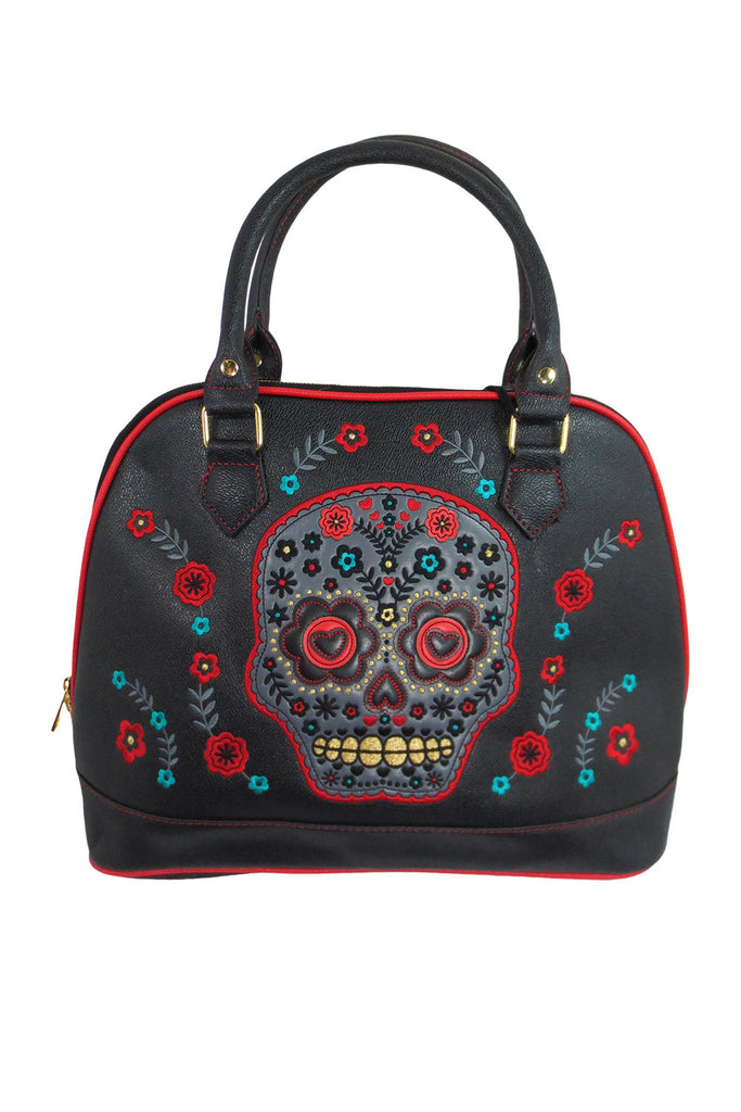 Banned Flower Sugar Skull Bowling Shoulder Bag Black Faux Leather Tattoo Rockabilly - Skelapparel - 1
