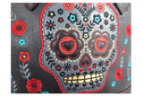 Flower Sugar Skull Bowling Shoulder Bag Black Faux Leather Tattoo Rockabilly - Skelapparel