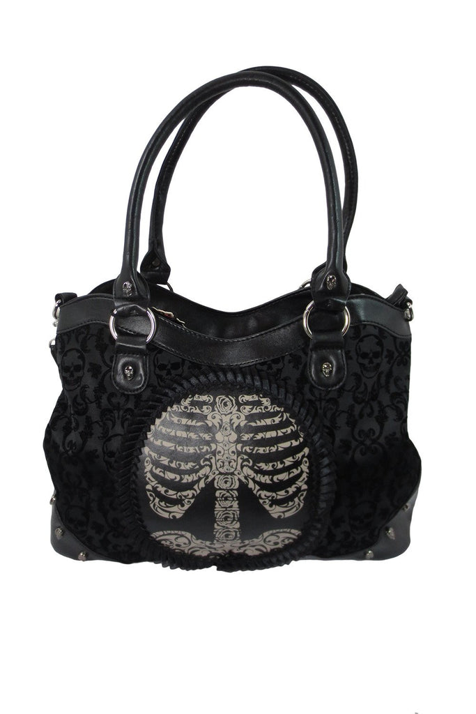 Goth Steampunk Black Flocked Ribcage Skeleton Cameo Handbag Shoulder Bag - Skelapparel