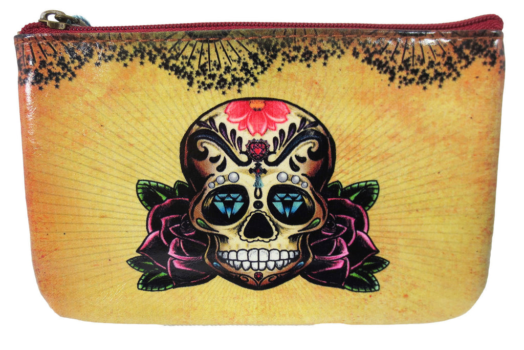 vintage floral skull tattoo art coin makeup pouch
