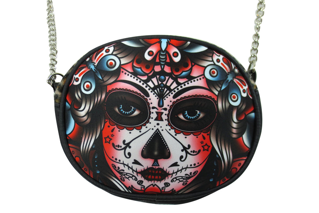 Liquorbrand Butterfly Day of the Dead Sugar Skull Tattoo Chain Crossbody Purse - Skelapparel - 1