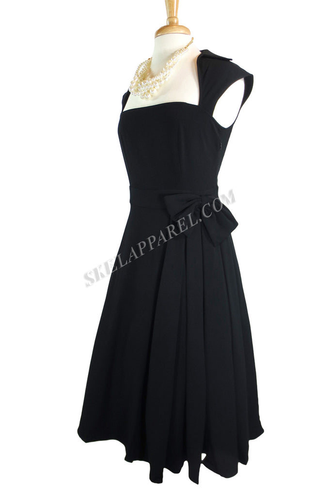 Rockabilly Vamp Plus 60's Vintage design Black Belted Party Dress with Bow Accent - Skelapparel - 1