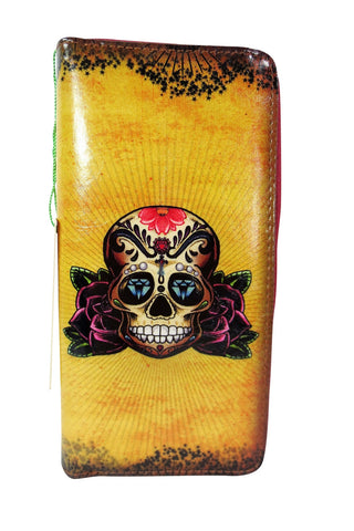 diamond skull tattoo art large wallet