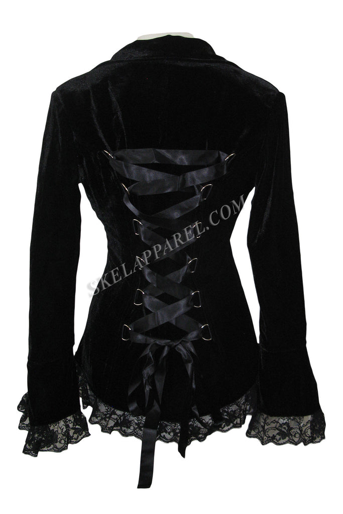 Plus Womens Gothic Victorian Steampunk Black Velvet Corset and Lace Jacket - Skelapparel - 1