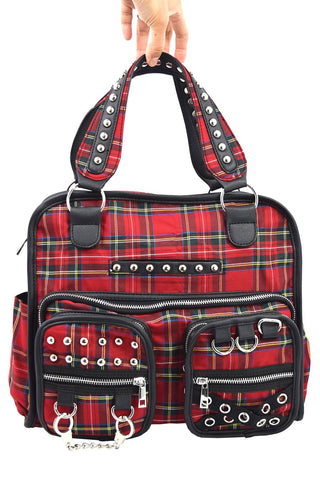 London Rock punk grunge Red Tartan Studded Messenger Bag