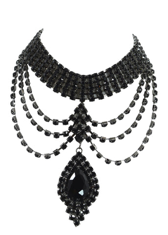 Renaissance Victorian Black Rhinestone Chandelier Choker Necklace and Earrings Set - Skelapparel