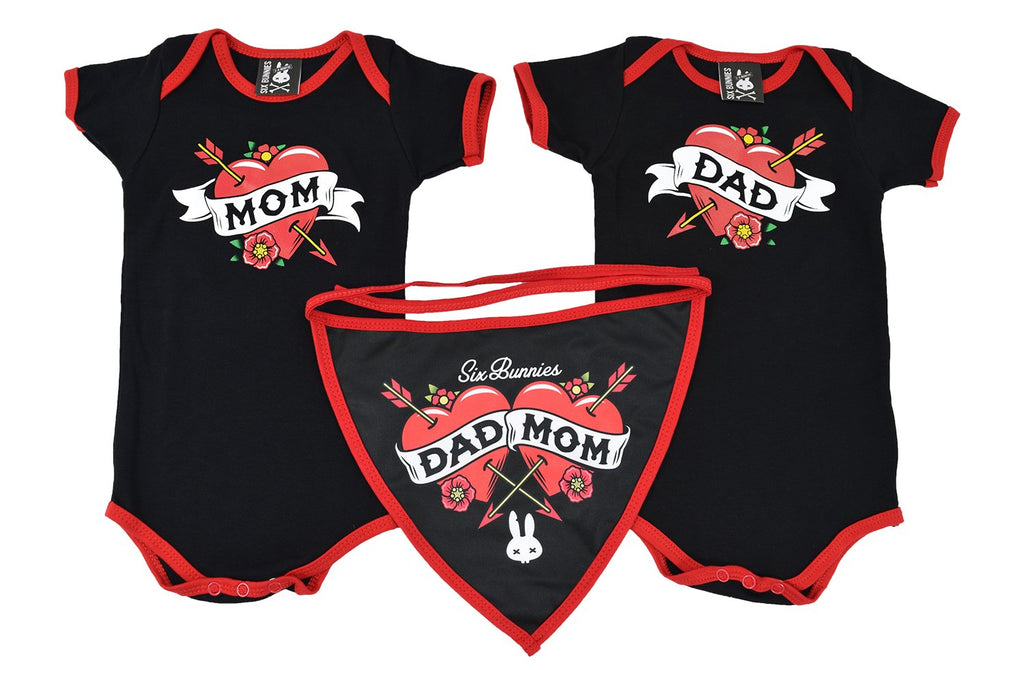 Rockabilly Punk Rock Mom Dad Tattooed Mom Baby Shower Gift Set Romper Bib 3 Pcs Gift Set