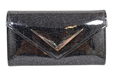 Liquorbrand Bonneville Glitter PVC with metal chevron logo Wallet