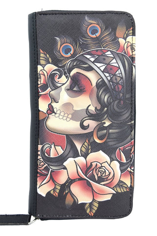 Liquorbrand Gypsy Rose Tattoo Sugar Skull Zip Around Clutch Wallet - Skelapparel