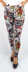 Liquor Brand Crazy Americana Flash Tattoo Print Leggings - Skelapparel
