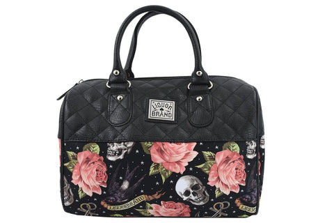 Liquorbrand Skulls & Pink Roses Satchel Purse Rockabilly Tattooed Lady Handbag - Skelapparel