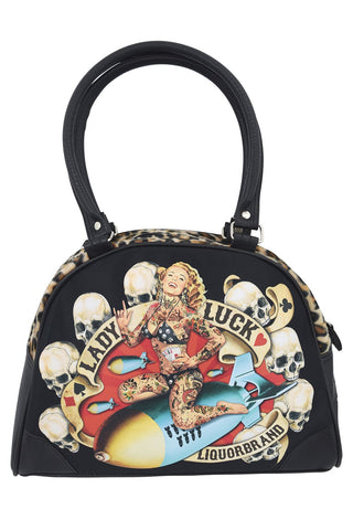 Liquorbrand Lady Luck II Pin-Up Girl Rockabilly Punk Bowling Bag Purse Handbag