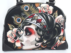 Liquorbrand Gypsy Rose Sugar Skull Lady  Flash Tattoo Art Bowling Bag Purse Handbag - Skelapparel