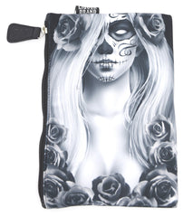 Liquor Brand Cosmetic Bag Love Sugar Skull Lady and Roses makeup purse - Skelapparel
