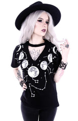 Witchy moon V-neck Choker t-shirts for women