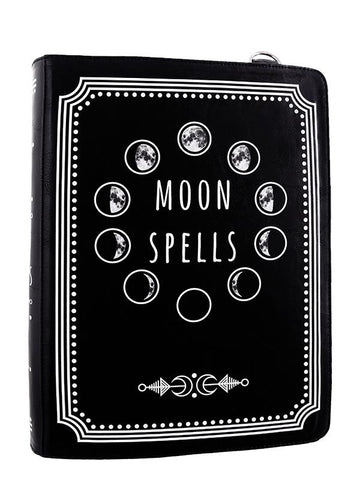 witchy moon spell book shaped purse